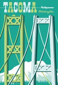 Vintage Style Tacoma Travel Poster Tacoma by RedRobotCreative