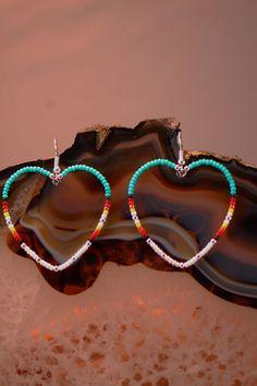 native american beaded crafts | Native American Heart Beaded Earrings | Beaded Native American ...