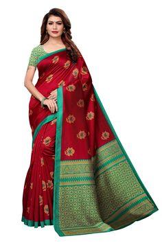sweetiepie fashion Maroon Mysore Silk Printed saree
