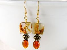Amber swirl glass earrings,  Amber drop earrings - Brown earrings - Amber jewelry - Amber earrings