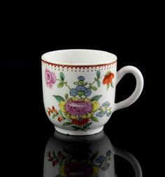 Bow Porcelain Coffee Cup c 1758-70,,Measures: approx. 6 cm high and diameter 6 cm. Condition Report: Overall in very good condition with no cracks or restoration. There is hairline to body, tiny chip and a small firing imperfection on the foot, minor surface wear. 271.55