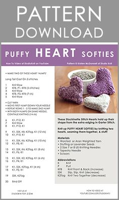 KNITTING PATTERN for Knit Puffy Heart Softies by Studio Knit - Download Free Printable Written Pattern
