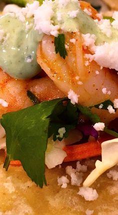 Shrimp Tacos With Cilantro Avocado Lime Crema Sauce