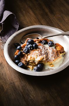 Matt Preston and Michelle Southan have put a delectable twist on bread and butter pudding with luxe croissants and white chocolate. #pudding #blueberry #whitechocolate #chocolate #dessert #baking #Breadandbutter #australia #australian #australianrecipes Self Saucing Pudding, Bread And Butter Pudding, Australian Food, Chocolate Pudding, Pudding Recipes, Croissants, Preston, White Chocolate, Blueberry