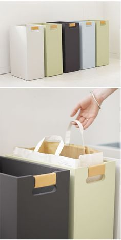 DIY inspiration for garbage sorting bins. Interior Design Living Room, Living Room Designs, Smart Storage, Garage Storage, Getting Organized, Home Organization, Interior Inspiration, Home Kitchens, Trans