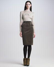 Loving this skirt for the #fall: Burberry Prorsum Mesh-Detail Knit Top & Corduroy Peplum Skirt #fashion