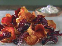 Sweet Potato and Beet Chips with Garlic Rosmary Salt -- must serve two kinds of homemade veggie chips!