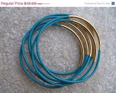 Turquoise Leather Bangle with Gold