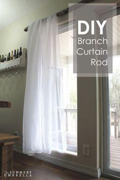 diy branch curtain rod, home decor, repurposing upcycling, window treatments