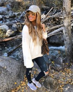 #fall #outfits loose white sweater ripped jeans baseball hat grey sneakers