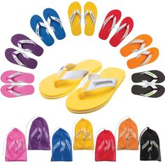 You'll flip over these Deluxe Flip Flops! They boast a triple layer sole construction for added support and durability. The thick white straps allow for a generous decoration area and are attached to the sole with a comfortable woven fabric band. Product colors and sizes can be mixed and match for no additional charge. Best of all each pair comes in its own color-coordinated mesh bag!