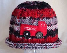 Fire Truck Beanie - Hand Knit Baby Hat with Fire Truck - Newborn, Infant and Toddler Sizes