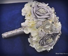 Couture Rose Bouquet by Blue Petyl ... available in YOUR colors! :) #wedding #broochbouquets #brooch #bridal #flowers #silver #rose