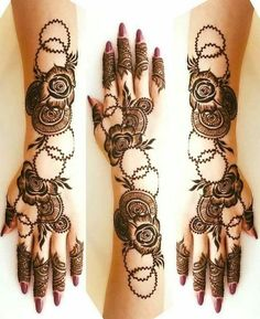 Mehndi henna designs are always searchable by Pakistani women and girls. Women, girls and also kids apply henna on their hands, feet and also on neck to look more gorgeous and traditional. Henna Hand Designs, Dulhan Mehndi Designs, Mehndi Designs Finger, Mehendi, Latest Arabic Mehndi Designs, Floral Henna Designs, Latest Bridal Mehndi Designs, Mehndi Designs Book, Modern Mehndi Designs