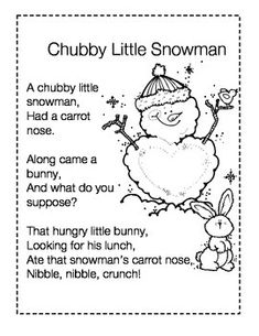 chubby little snowman poem printable - Google Search