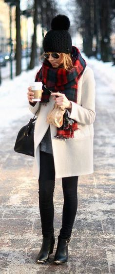 fall fashion red scarf