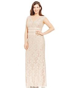 Adrianna Papell Plus Size Lace Gown - Dresses - Women - Macy's