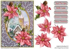 Topper Church In Snow on Craftsuprint designed by Carol James - A Christmas design topper (approx 5.7 x 7.98) with some decoupage pieces.Sentiments include:Merry ChristmasSeason's GreetingsChristmas WishesWith Love Just For You - Now available for download!