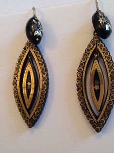 Pair Attractive Victorian Pique Gold and Silver Inlaid Pendant Drop Earrings | eBay