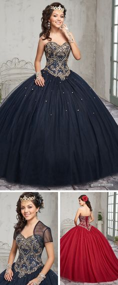 MQ1008   Strapless tulle quinceanera ball gown features sweetheart neck line, beaded bodice, basque waist line, lace-up closure, sweep train and matching bolero.