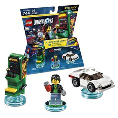 Unlock special powers and areas of the Lego Dimensions game with this three-piece Midway Arcade Level Pack. Use the arcade machine to gain access to the 8-Bit Shooter and The Pixelator, or use Spy Hun