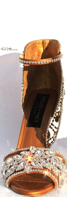 ~House of Face - Swarovski Crystal Embellished Gold Sandal | House of Beccaria#