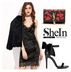 """SHEIN Black Dress"" by tania-alves ❤ liked on Polyvore featuring Miss Selfridge, Yves Saint Laurent, Humble Chic and WithChic"