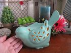 "New XL Rustic Farmhouse French Country LIGHTED Aqua Ceramic ""Chubby"" Bird"