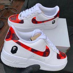 Bape Shoes, Red Nike Shoes, Nike Shoes Air Force, Sneakers Nike, Basketball Sneakers, Nike Basketball, Nike Af1, Nike Air Huarache, Zoom Iphone