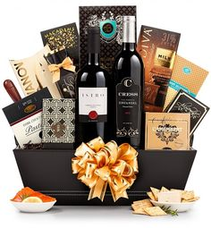The 5th Avenue Wine Gift Basket: Wine Baskets - Two bottles of fine red wine combined with delicious gourmet indulgences.