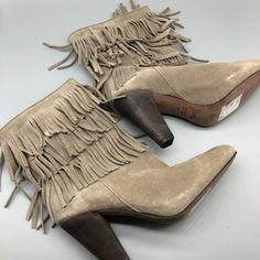 Joie Shoes | Joie Tan Fringe 3 Tier Fringe Heeled Booties | Poshmark Joie Shoes, Shoes Heels Boots, Heeled Boots, Blossoms, Suede Leather, Stripes, Booty, Outfit, Things To Sell