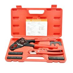 """IWISS F1807 1/2""""&3/4"""" Combo Copper Ring Crimping Tool for Pex Pipe Connection with free Copper Rings&Cutter&GO-NO-GO Gauge suits Sharkbite, Watts, Apollo and All US F1807 Standards- Portable Case"""