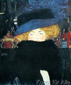 Gustav Klimt - Bildnis einer Frau mit Hut und
