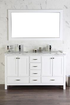 """Abigail 60"""", Naos, White Bathroom Vanity with 3cm Bianco Carrara Marble Top, Double Sink"""