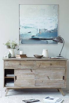 Loaf's midcentury Hoot sideboard with coastal Ben Lowe canvas print Coastal Living Rooms, Living Spaces, Side Table Styling, White Washed Furniture, Comfy Sofa, Piece A Vivre, Furniture Making, Loaf Furniture, Home Decor Inspiration