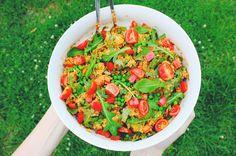 Quinoa salad with homemade tomato pesto minus chicken