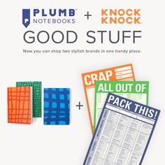 Welcome, Plumb fans! Now you can shop Plumb + Knock Knock in one handy place. Take a look and find a few things you like, love, or can't live without.