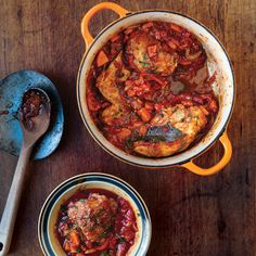 The recipe for this stew, a northern Italian braise of chicken and vegetables in a tomato sauce, is adapted from Marcella Hazan's book Essentials of Italian Cooking (Knopf, 1992).
