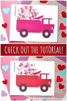 Thumbprint Hearts in Valentine Truck – Kid Craft Valentine's Day Crafts For Kids, Valentine Day Crafts, Free Printables, Hearts, Trucks, Create, Toys, Holiday, Fun