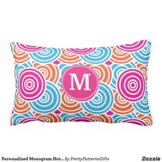 Personalized Monogram Hot Pink Teal Circles Pillows