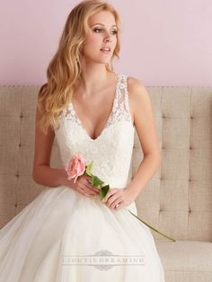 Straps A-line V-neck Wedding Dress with Illusion Back - LightIndreaming