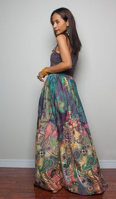 Floor Length Skirt Boho Maxi Skirt : Feel Good by Nuichan on Etsy