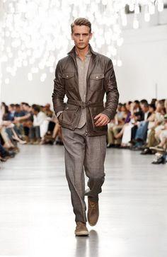 Benjamin Eidem  Corneliani Spring 2013 Menswear Collection | Brown leather jacket