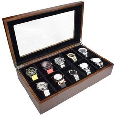 Ikee Design Wooden Watch Box For 10 Watches | Overstock.com Shopping - The Best Deals on Watch Boxes #WoodenWatchesForMen