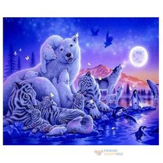 Diy 5D Tiger Bear Diamond Painting Embroidery Cross Stitch Animal Home Decor