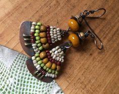 Rustic  *Alegria,Alegria Series* earrings n273- beaded artisan , eclectic , folk , ethnic , tribal  festive  mixed colors boho original