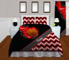 Girls Basketball Duvet Cover, Red Teen Bedding, Kids Chevron Duvet Sets, Sports Duvet Covers for Teenage Girls, Twin XL, Quee, King #155 by EloquentInnovations on Etsy