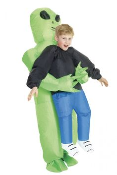 The Inflatable Alien Pick-Me-Up Costume for kids features a jumpsuit that is in the shape of a green alien and includes an attached battery-operated fan. Gain some laughs and looks this Halloween with this inflatable costume.