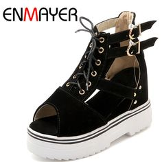 31.15$  Watch now  - ENMAYER New Women Fashion Style Womens Shoes Heels and Wedges 4 Colors Black Lace-up  High Heel Shoes Woman Sandals Size 34-43