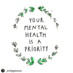 Today is Mental Health Day How are you prioritising your Mental Health? I am sharing this post by as she highlights three really important points! Your mental health is a PRIORITY Your happiness is ESSENTIAL Your self-care is a NECESSITY . Positive Mental Health, Mental Health Matters, Mental Health Slogans, Good Mental Health, Mental Health Recovery Quotes, Working In Mental Health, Mental Health Organizations, Mental Health Programs, Health And Wellness Quotes